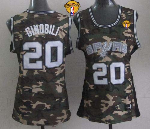 Spurs #20 Manu Ginobili Camo With Finals Patch Women's Stealth Collection Stitched NBA Jersey