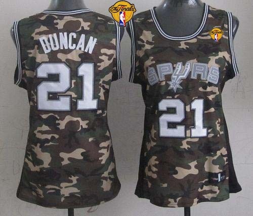 Spurs #21 Tim Duncan Camo With Finals Patch Women's Stealth Collection Stitched NBA Jersey