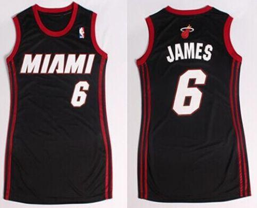 Heat #6 LeBron James Black Women's Dress Stitched NBA Jersey