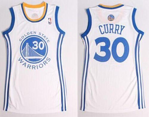 Warriors #30 Stephen Curry White Women's Dress Stitched NBA Jersey