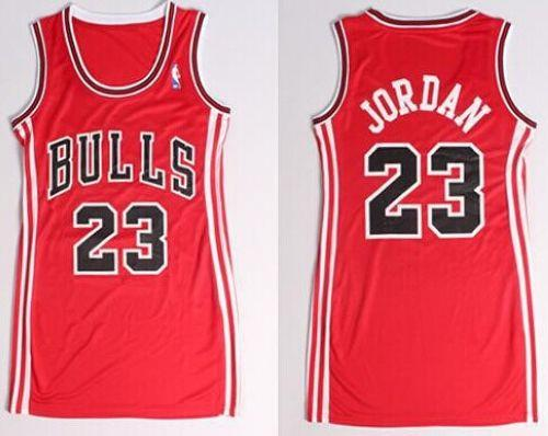 Bulls #23 Michael Jordan Red Women's Dress Stitched NBA Jersey