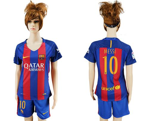 Women's Barcelona #10 Messi Home Soccer Club Jersey