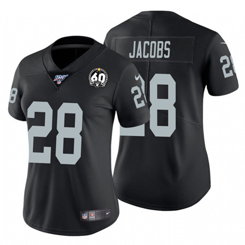 Women's Oakland Raiders #28 Josh Jacobs Black 60th Anniversary Vapor Limited Stitched NFL 100th Season Jersey
