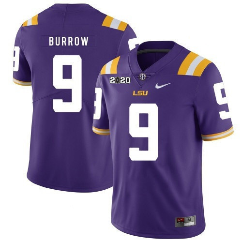 Men's LSU Tigers #9 Joe Burrow Purple With 2020 Patch Limited Stitched NCAA Jersey