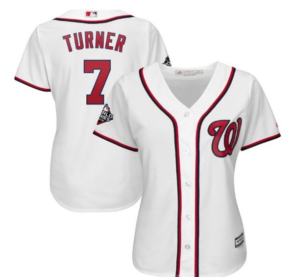 Women's Washington Nationals #7 Trea Turner Majestic White World Series Bound Cool Base Stitched MLB Jersey(Run Small)