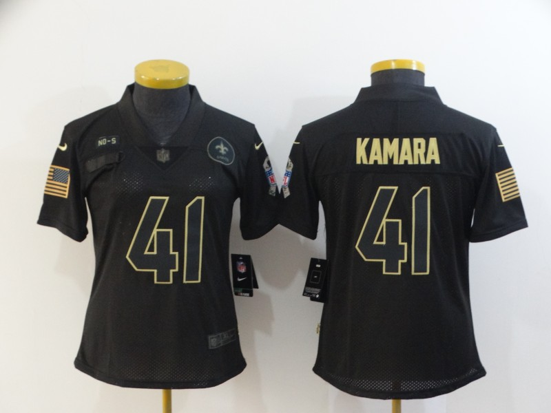 Women's New Orleans Saints #41 Alvin Kamara 2020 Black Salute To Service Limited Stitched Jersey(Run Small)