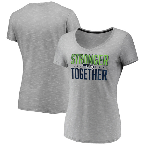 Women's Seattle Seahawks Gray Stronger Together Space Dye V-Neck T-Shirt(Run Small)