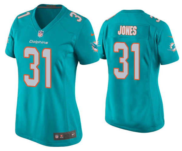 Women's Miami Dolphins #31 Byron Jones 2020 Aqua Stitched Jersey(Run Small)