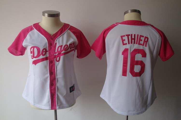 Women's Los Angeles Dodgers #16 Andre Ethier Pink Splash Fashion Stitched MLB Jersey