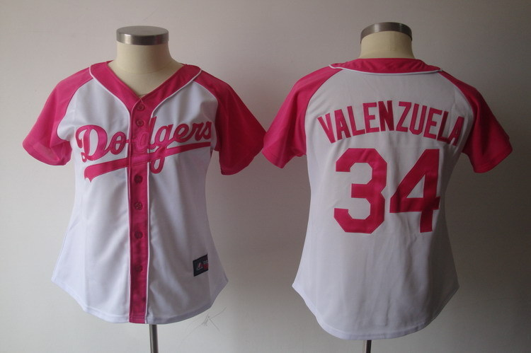 Women's Los Angeles Dodgers #34 Fernando Valenzuela Pink Splash Fashion Stitched MLB Jersey