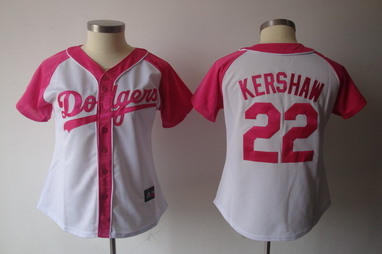 Women's Los Angeles Dodgers #22 Clayton Kershaw Pink Splash Fashion Stitched MLB Jersey