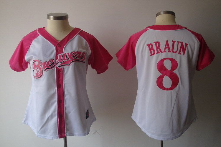 Women's Milwaukee Brewers #8 Ryan Braun Pink Splash Fashion Stitched MLB Jersey