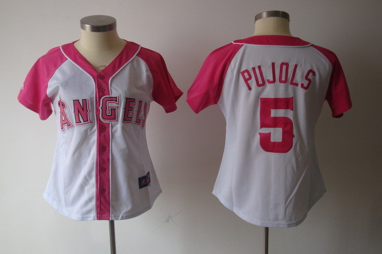 Women's Los Angeles Angels #5 Albert Pujols Pink Splash Fashion Stitched MLB Jersey