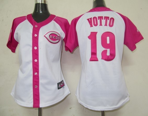Women's Cincinnati Reds #19 Joey Votto Pink Splash Fashion Stitched MLB Jersey