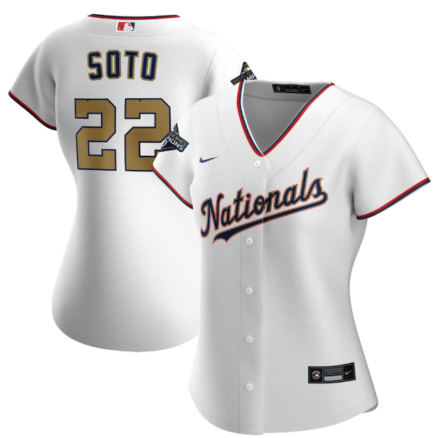 Women's Washington Nationals #22 Juan Soto White 2020 Gold Program Stitched Championship Jersey(Run Small)