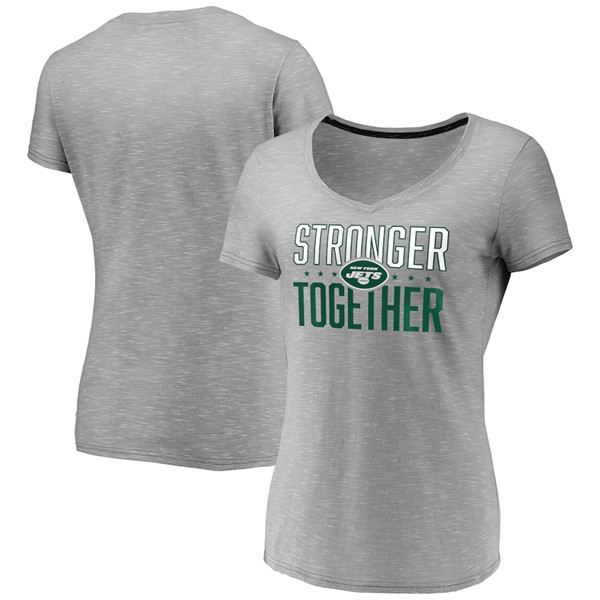 Women's New York Jets Gray Stronger Together Space Dye V-Neck T-Shirt(Run Small)