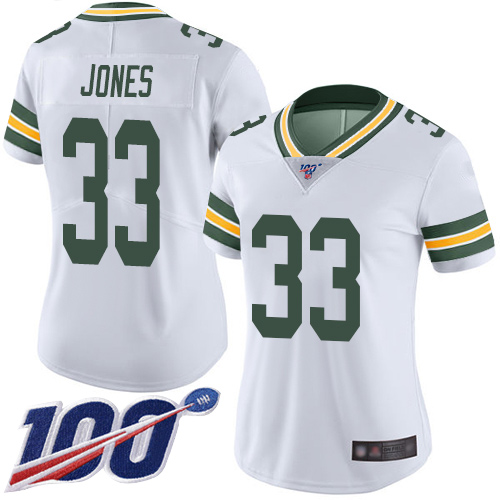 Women's Packers #33 Aaron Jones 100th Season White Vapor Untouchable Stitched NFL Limited Jersey