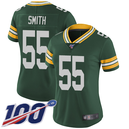 Women's Packers #55 Za'Darius Smith 100th Season Green Vapor Untouchable Stitched NFL Limited Jersey