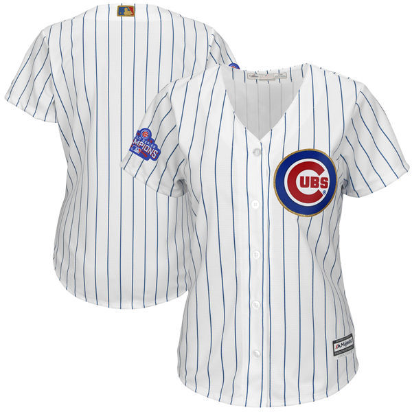 Women's Chicago Cubs Majestic Fashion White/Gold 2017 Gold Program Cool Base Team Stitched MLB Jersey
