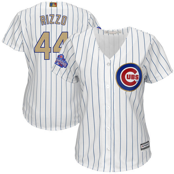 Women's Chicago Cubs #44 Anthony Rizzo Majestic White 2017 Gold Program Player Stitched MLB Jersey