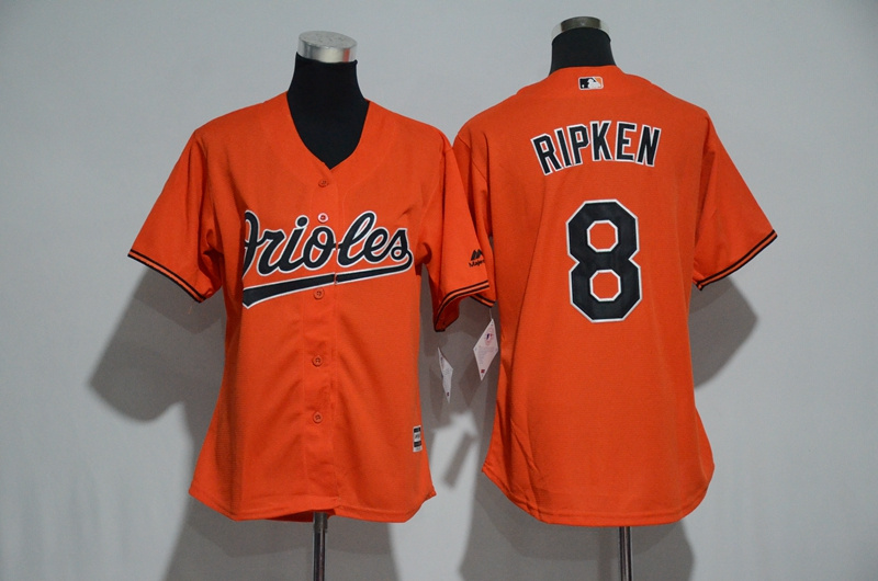 Women's Baltimore Orioles #8 Cal Ripken Majestic Orange Alternate Cool Base Player Stitched MLB Jersey