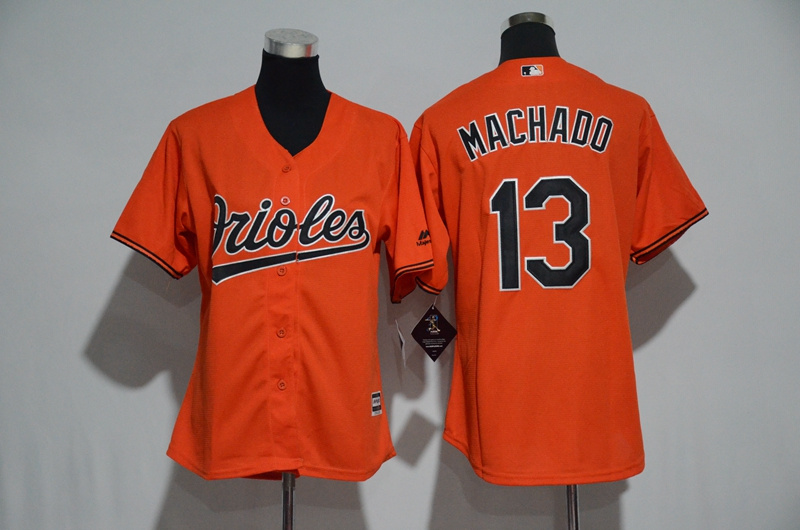 Women's Baltimore Orioles #13 Manny Machado Majestic Orange Alternate Cool Base Player Stitched MLB Jersey