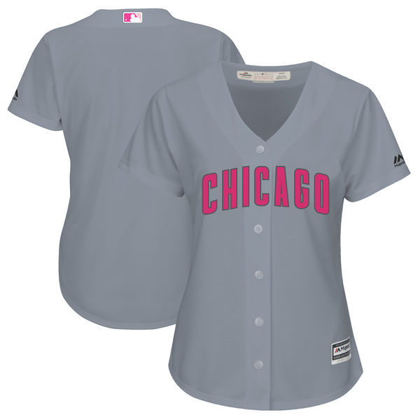 Women's Chicago Cubs Majestic Gray Mother's Day Cool Base Team Stitched MLB Jersey