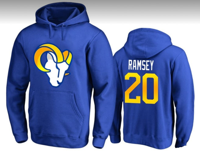 Youth Los Angeles Rams #20 Jalen Ramsey Blue Pullover Hoodie