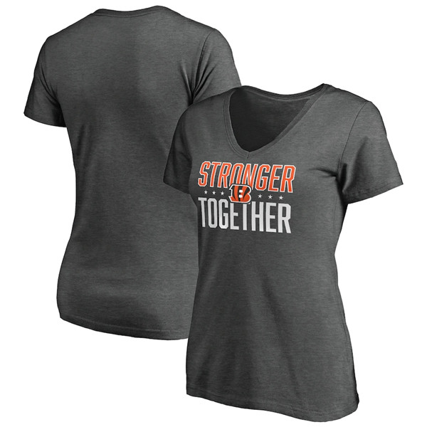 Women's Cincinnati Bengals Heather Stronger Together Space Dye V-Neck T-Shirt(Run Small)