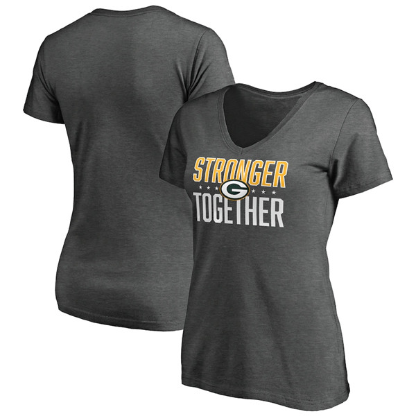 Women's Green Bay Packers Heather Stronger Together Space Dye V-Neck T-Shirt(Run Small)