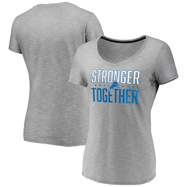 Women's Detroit Lions Gray Stronger Together Space Dye V-Neck T-Shirt(Run Small)