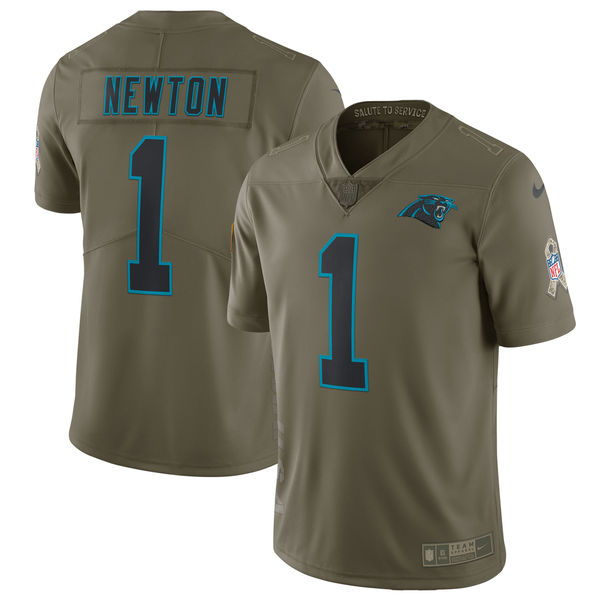 Youth Nike Carolina Panthers #1 Cam Newton Olive Salute To Service Limited Stitched NFL Jersey