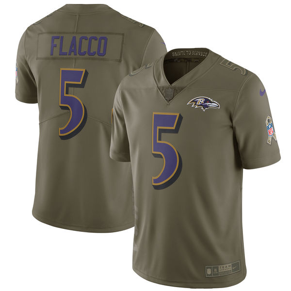 Youth Nike Baltimore Ravens #5 Joe Flacco Olive Salute to Service Limited Stitched NFL Jersey