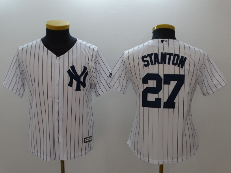 Youth New York Yankees #27 Giancarlo Stanton White Cool Base Stitched MLB Jersey