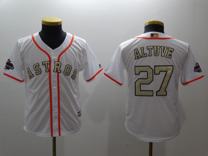 Youth Houston Astros #27 Jose Altuve Majestic White 2018 Gold Program Cool Base Player Stitched MLB Jersey