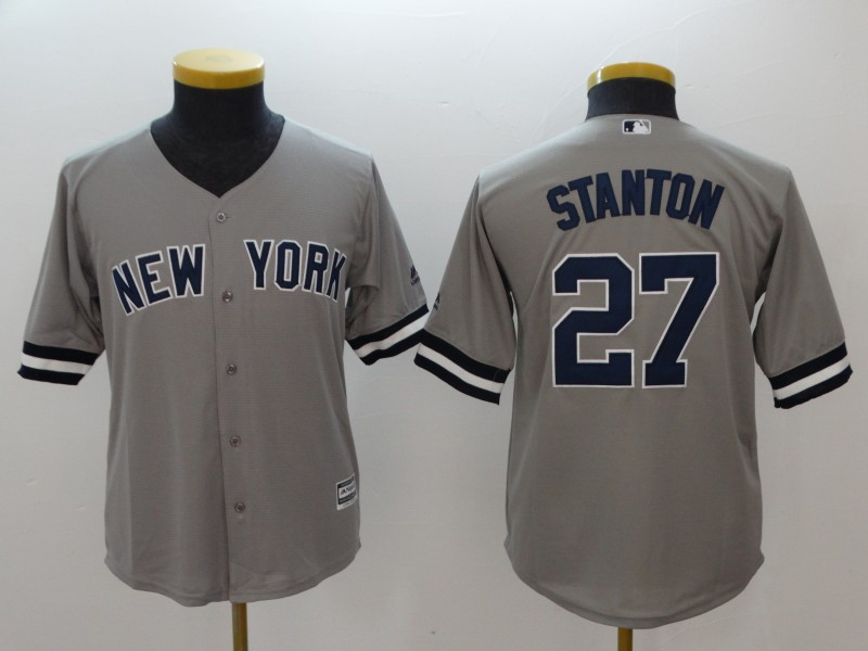 Youth New York Yankees #27 Giancarlo Stanton Gray Cool Base Stitched MLB Jersey
