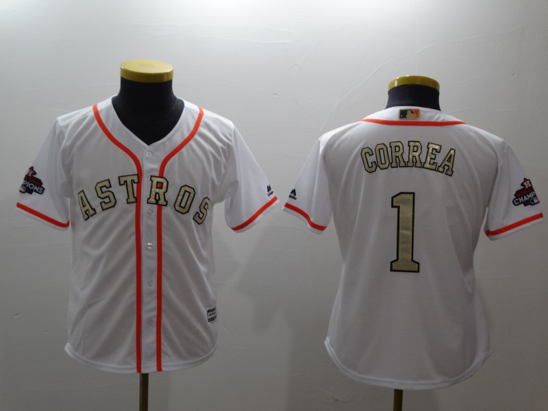 Youth Houston Astros #1 Carlos Correa Majestic White 2018 Gold Program Cool Base Player Stitched MLB Jersey