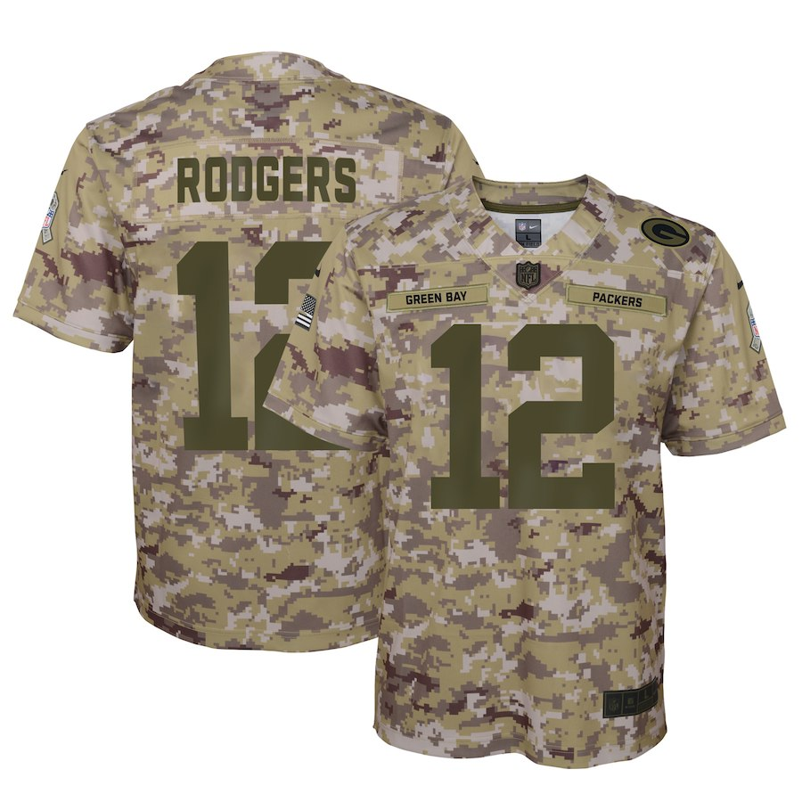Youth Green Bay Packers #12 Aaron Rodgers 2018 Camo Salute To Service Limited Stitched NFL Jersey