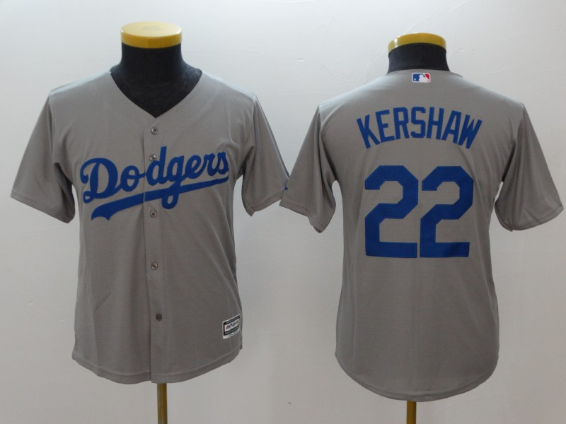 Youth Los Angeles Dodgers #22 Clayton Kershaw Gray Cool Base Stitched MLB Jersey