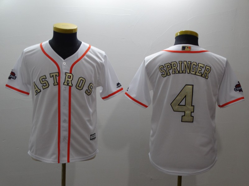 Youth Houston Astros #4 George Springer Majestic White 2018 Gold Program Cool Base Player Stitched MLB Jersey