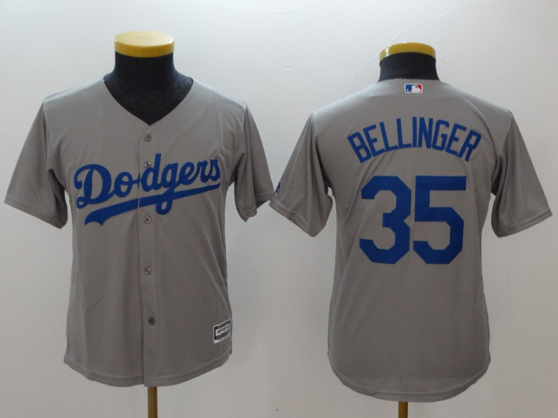 Youth Los Angeles Dodgers #35 Cody Bellinger Gray Cool Base Stitched MLB Jersey