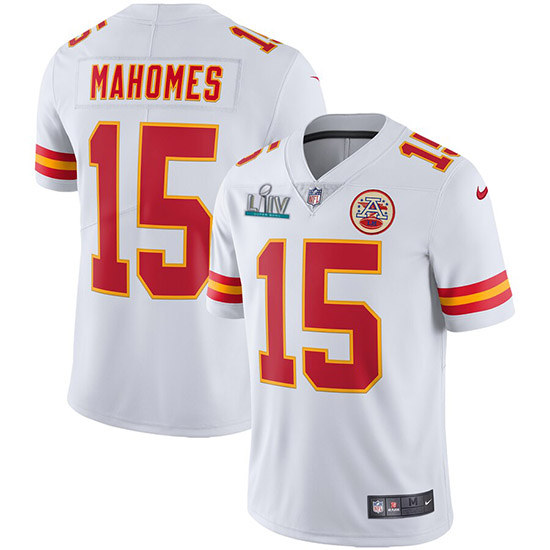 Youth Kansas City Chiefs #15 Patrick Mahomes Super Bowl LIV White Vapor Untouchable Limited Stitched Jersey