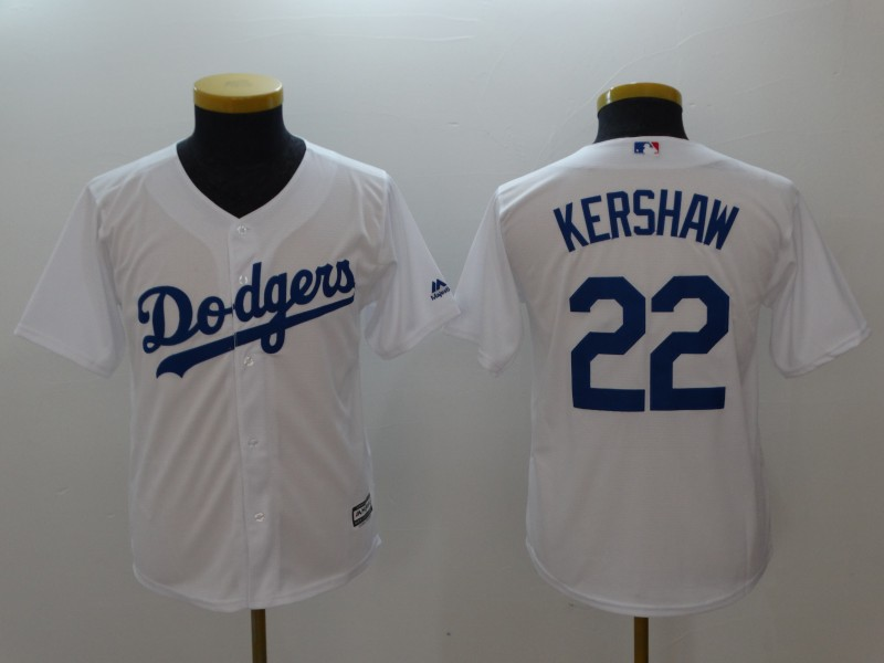 Youth Los Angeles Dodgers #22 Clayton Kershaw White Cool Base Stitched MLB Jersey