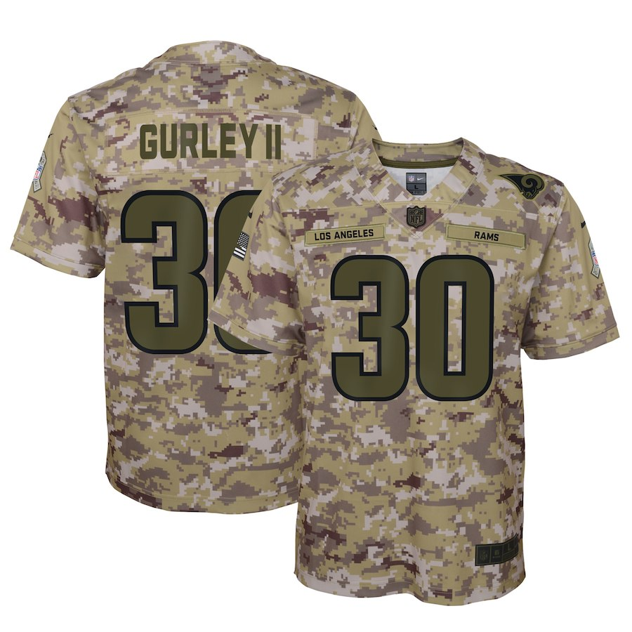 Youth Los Angeles Rams #30 Todd Gurley 2018 Camo Salute To Service Limited Stitched NFL Jersey