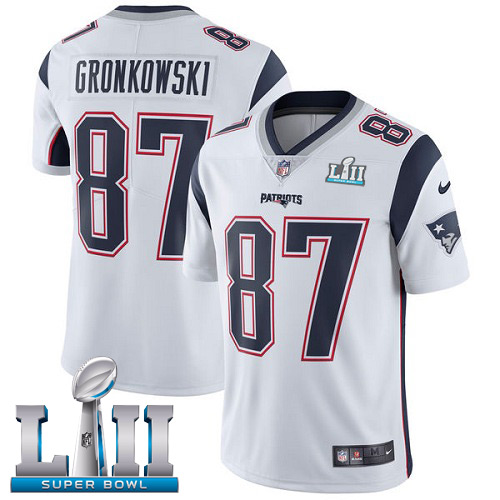Youth New England Patriots # 87 Rob Gronkowski White Super Bowl LII Bound Game Jersey