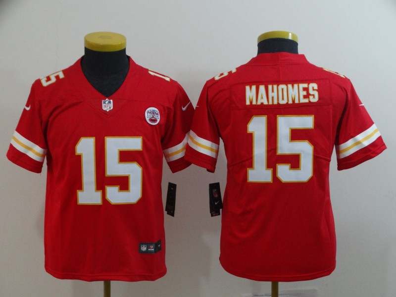 Youth Kansas City Chiefs #15 Patrick Mahomes Red Vapor Untouchable Limited Stitched NFL Jersey
