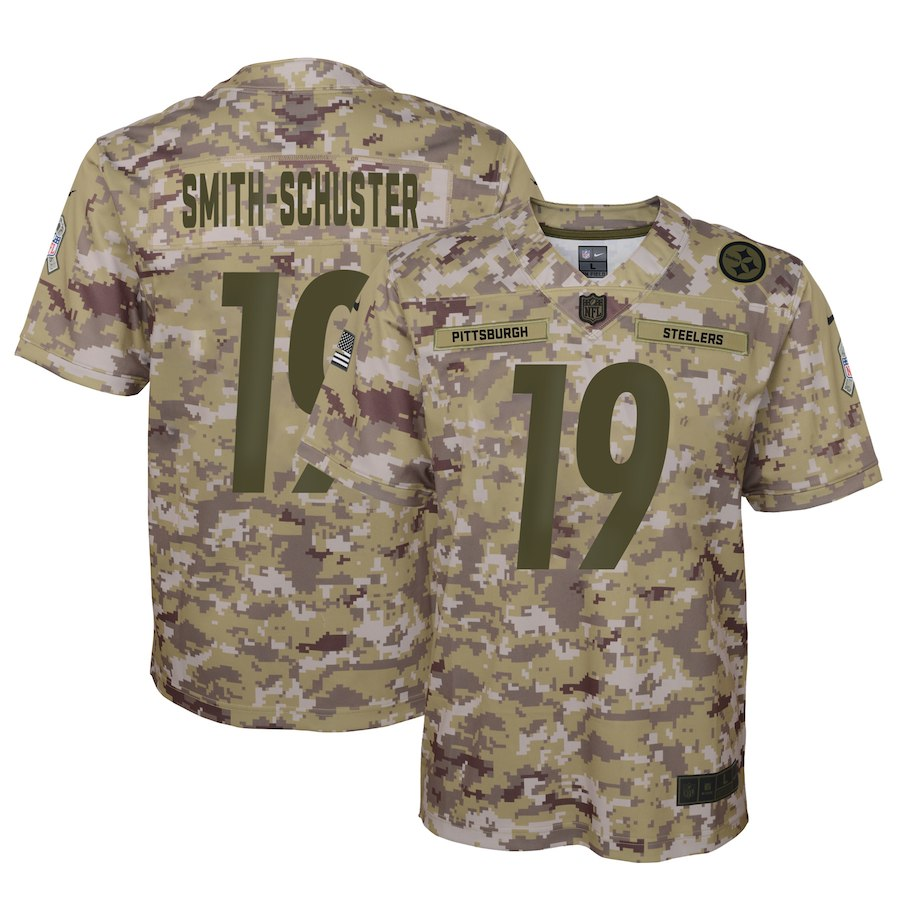 Youth Pittsburgh Steelers #19 JuJu Smith-Schuster 2018 Camo Salute To Service Limited Stitched NFL Jersey