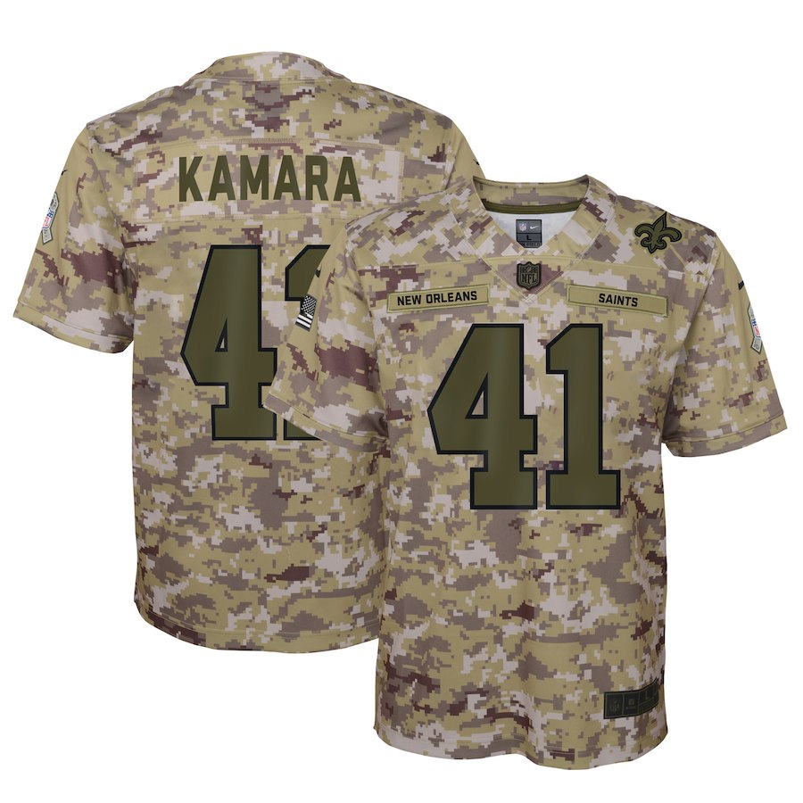 Youth New Orleans Saints #41 Alvin Kamara 2018 Camo Salute To Service Limited Stitched NFL Jersey