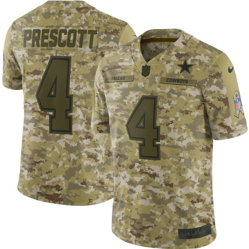 Youth Dallas Cowboys #4 Dak Prescott 2018 Camo Salute To Service Limited Stitched NFL Jersey