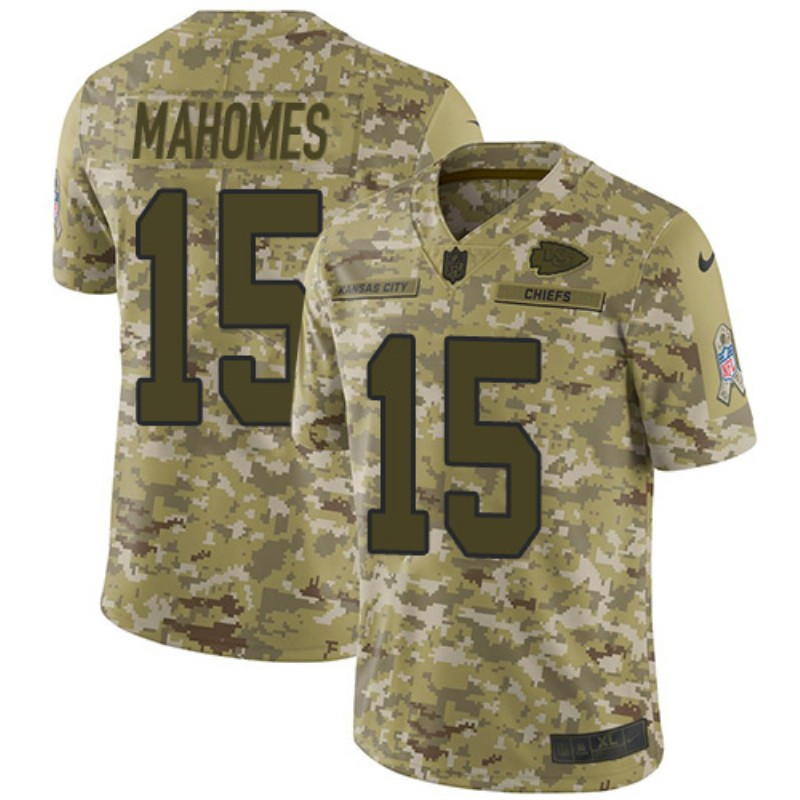 Youth Kansas City Chiefs #15 Patrick Mahomes 2018 Camo Salute To Service Limited Stitched NFL Jersey